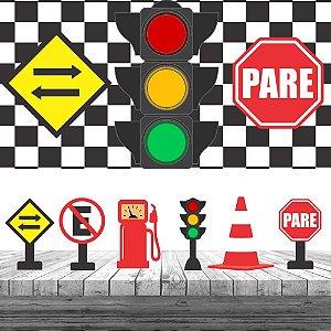 Kit 6 Display Mesa Trânsito Decoração Painel Lona Festa