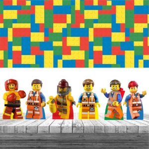 Kit Festa Lego 6 Display + Painel Aniversário