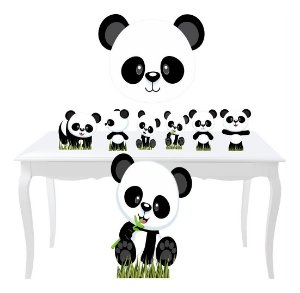 Kit 7 Festa Display Totem + Placa Panda Baby Aniversario
