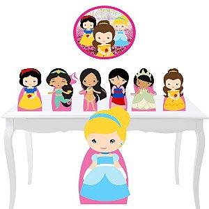 Kit 7 Totem Display Festa Princesas Cute Placa Decoração