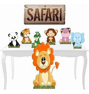Kit Festa 7 Totem Display Placa Safari Baby Decoração Festa