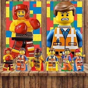 Kit 6 display Mesa E 2 Quadros Lego Decoração Festa 3-4