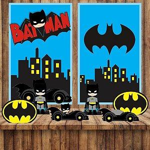 Kit 6 display Mesa E 2 Quadros Batman Cute Decoração Festa 3-4