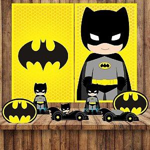 Kit 6 display Mesa E 2 Quadros Batman Cute Decoração Festa 5-6