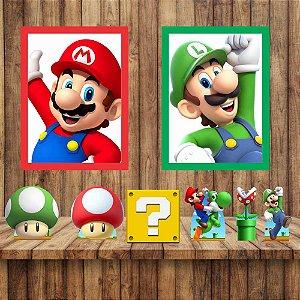 Kit 6 display Mesa E 2 Quadros Super Mario Festa 3-4