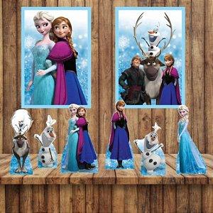 Kit 6 display Mesa E 2 Quadros Frozen Decoração Festa 1-5
