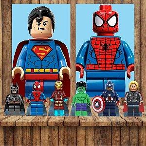Kit 6 display Mesa E 2 Quadros Lego Herois Decoração Festa 1-2