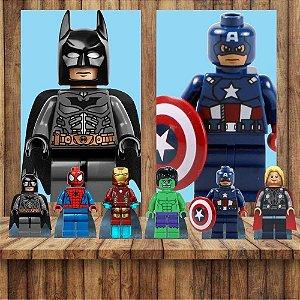 Kit 6 display Mesa E 2 Quadros Lego Herois Decoração Festa 3-4