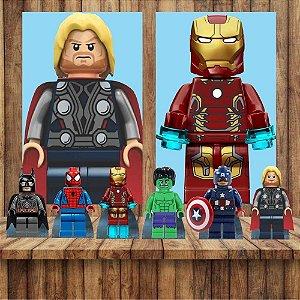 Kit 6 display Mesa E 2 Quadros Lego Herois Decoração Festa 5-6