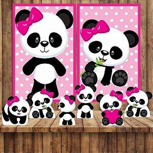Kit 6 display Mesa E 2 Quadros Panda Menina Decoração Festa 3-4
