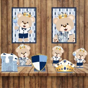 Kit 6 display Mesa 2 Quadros Ursinho Príncipe Decoração 1-2