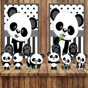 Kit 6 display E 2 Quadros Panda Baby Festa Decoração 1-2