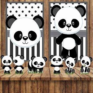 Kit 6 display E 2 Quadros Panda Baby Festa Decoração 3-4