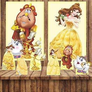 Kit 6 display Mesa E 2 Quadros Bela E A Fera Decoração Festa 5-6