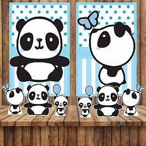 Kit 6 display E 2 Quadros Panda Menino Azul Decoração Festa 3-4