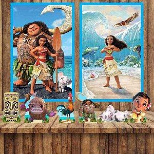 Kit 6 display Mesa 2 Quadros Moana Festa Aniversario 1-2