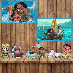 Kit 6 display Mesa 2 Quadros Moana Festa Aniversario 5-6