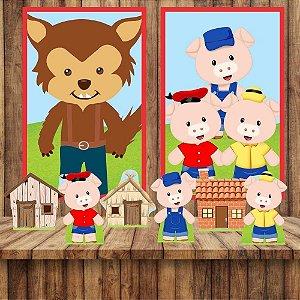 Kit 6 display Mesa E 2 Quadros Tres Porquinhos Aniversário 1-3