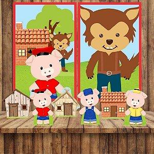 Kit 6 display Mesa E 2 Quadros Tres Porquinhos Aniversário 1-4