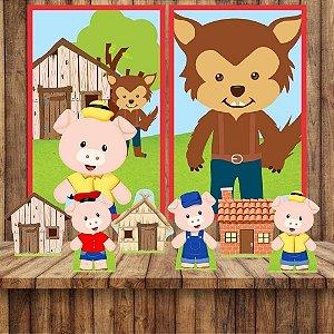Kit 6 display Mesa E 2 Quadros Tres Porquinhos Aniversário 1-6