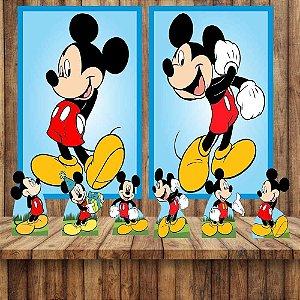 Kit 6 display Mesa 2 Quadros Mickey Mouse Festa Aniversario 3-4