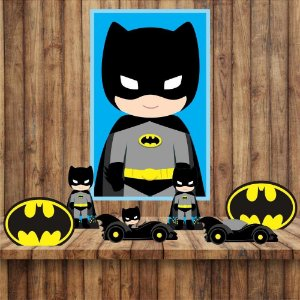 Kit 6 display Mesa E quadro Batman Decoração Festa 02