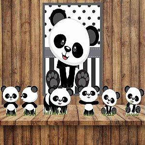 Kit 6 display Mesa E 1 Quadro Panda Baby Decoração Festa 01