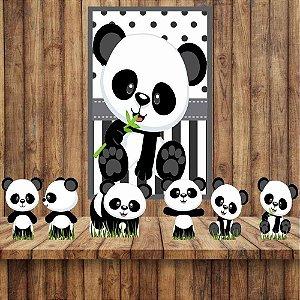 Kit 6 display Mesa E 1 Quadro Panda Baby Decoração Festa 02