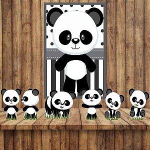 Kit 6 display Mesa E 1 Quadro Panda Baby Decoração Festa 04