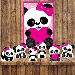 Kit 6 display Mesa E Quadro Panda Menina Festa Decoração 01