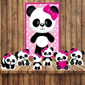 Kit 6 display Mesa E Quadro Panda Menina Festa Decoração 02