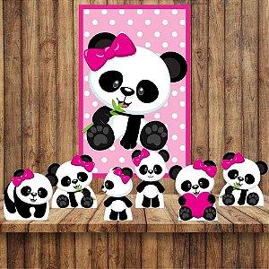 Kit 6 display Mesa E Quadro Panda Menina Festa Decoração 04