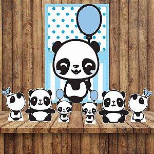 Kit 6 display Mesa E Quadro Panda Menino Festa Decoração 01