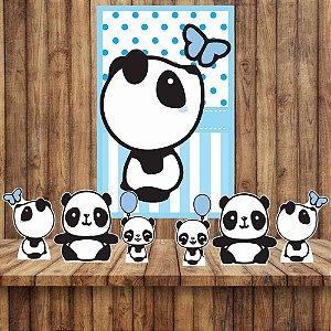 Kit 6 display Mesa E Quadro Panda Menino Festa Decoração 02
