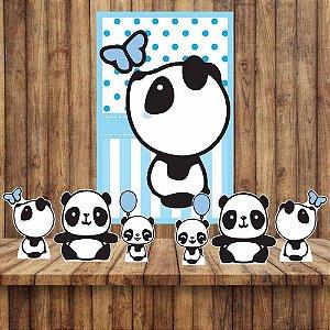 Kit 6 display Mesa E Quadro Panda Menino Festa Decoração 04