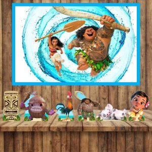 Kit 6 display Mesa  E Quadro Moana Festa Aniversario 03