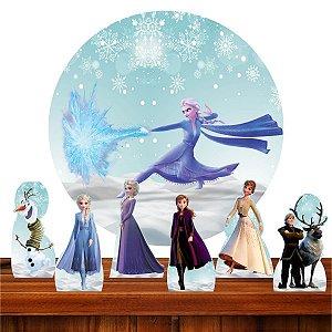 Kit Festa Frozen 2 6 Display + Painel Redondo Sublimado 1.3m