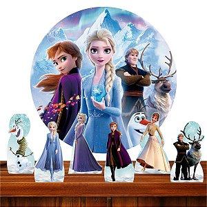 Kit Festa Frozen 2 6 Display + Painel Redondo Sublimado 1.3m 02