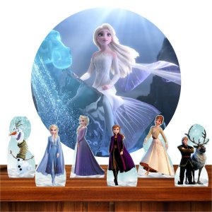 Kit Festa Frozen 2 6 Display + Painel Redondo Sublimado 1.3m 03