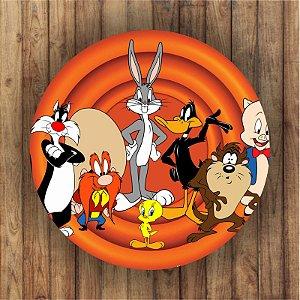 Painel Tecido Redondo Looney Tunes Decoração Festa 01