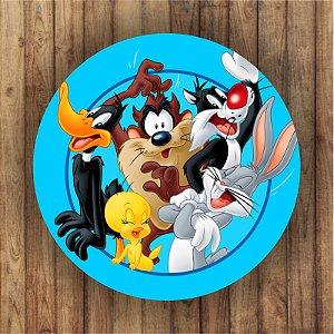 Painel Tecido Redondo Looney Tunes Decoração Festa 02