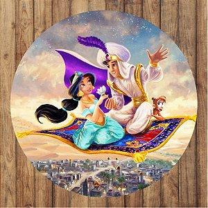 Painel Tecido Redondo Aladdin Decoração Festa 01