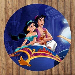 Painel Tecido Redondo Aladdin Decoração Festa 03