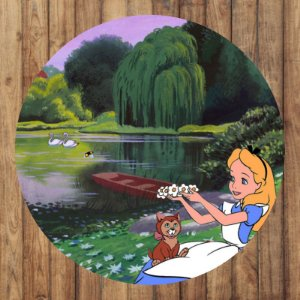 Painel Tecido Redondo Alice no Pais das Maravilhas Desenho Decoração Festa 04