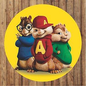 Painel Tecido Redondo Alvin e os Esquilos Decoração Festa 01