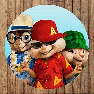 Painel Tecido Redondo Alvin e os Esquilos Decoração Festa 02