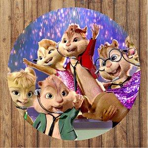 Painel Tecido Redondo Alvin e os Esquilos Decoração Festa 03