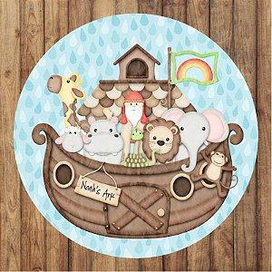 Painel Tecido Redondo Arca de Noé Decoração Festa 03