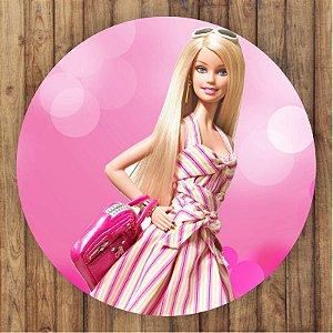 Painel Tecido Redondo Barbie Decoração Festa 02