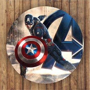 Painel Tecido Redondo Capitão America Decoração Festa 01